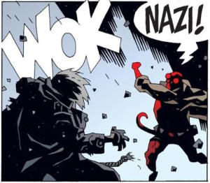 Hellboy punches a Nazi.